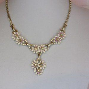 "Sarah Coventry Wild Flower Choker Necklace 15.5"" L 1950s Era"
